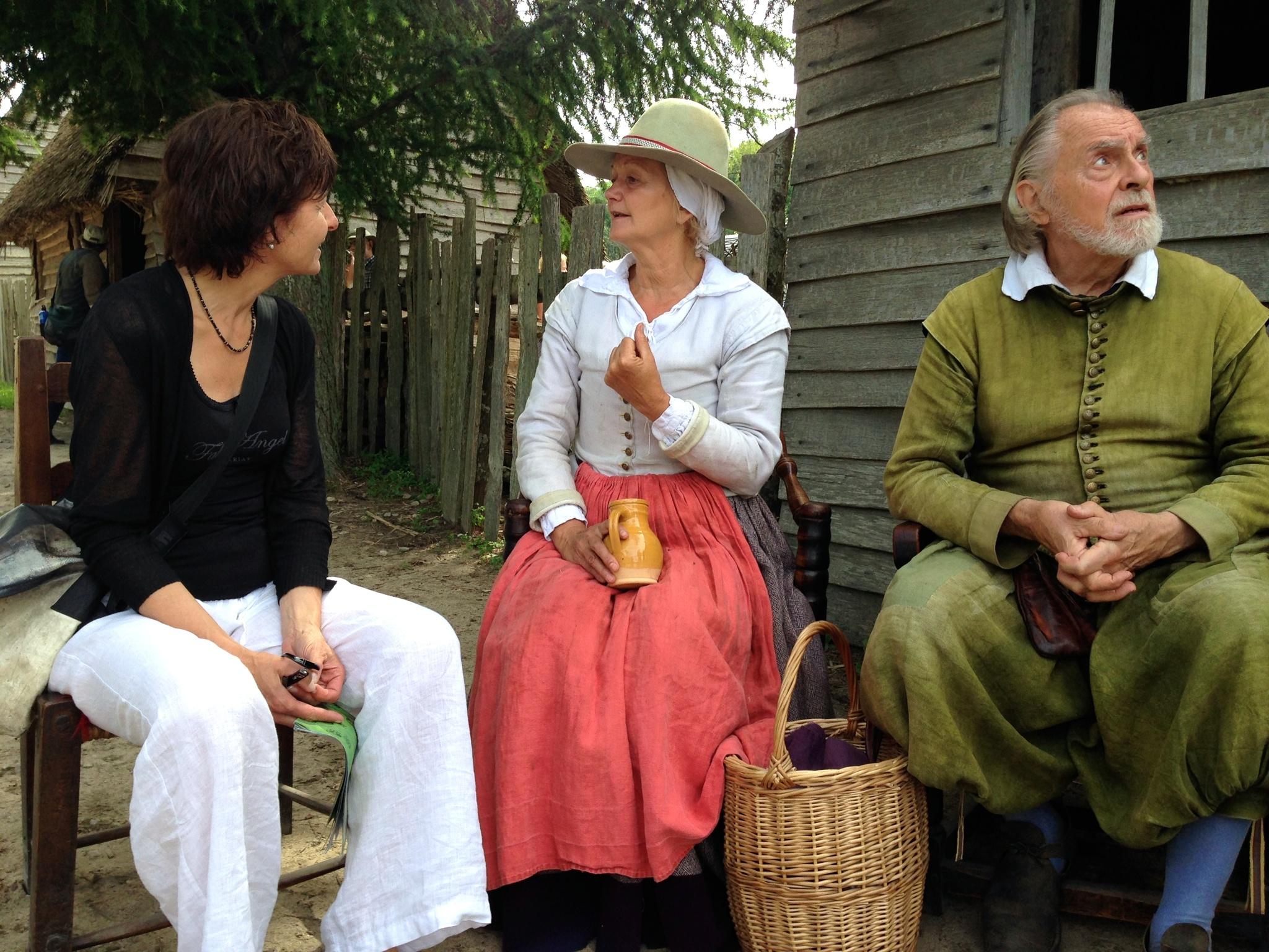 Diskussion mit einer Siedlerin
