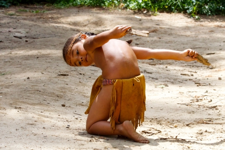A Wampanoag girl dancing